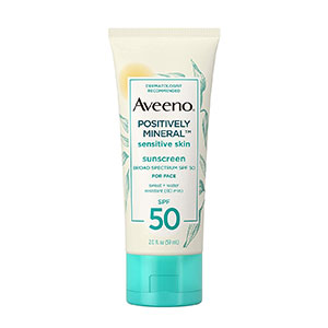 Aveeno - Positively Mineral Sensitive Skin Daily Sunscreen Lotion For Face SPF 50